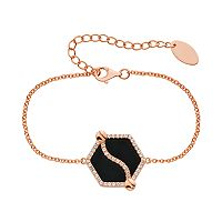 Onyx & Lab-Created White Sapphire 14k Gold Over Silver Hexagon Bracelet