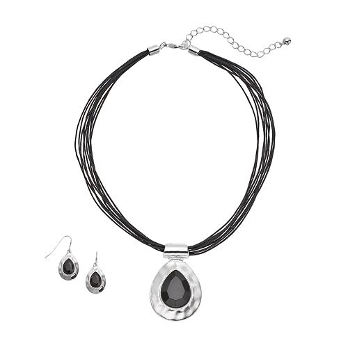 Hammered Teardrop Necklace & Earring Set