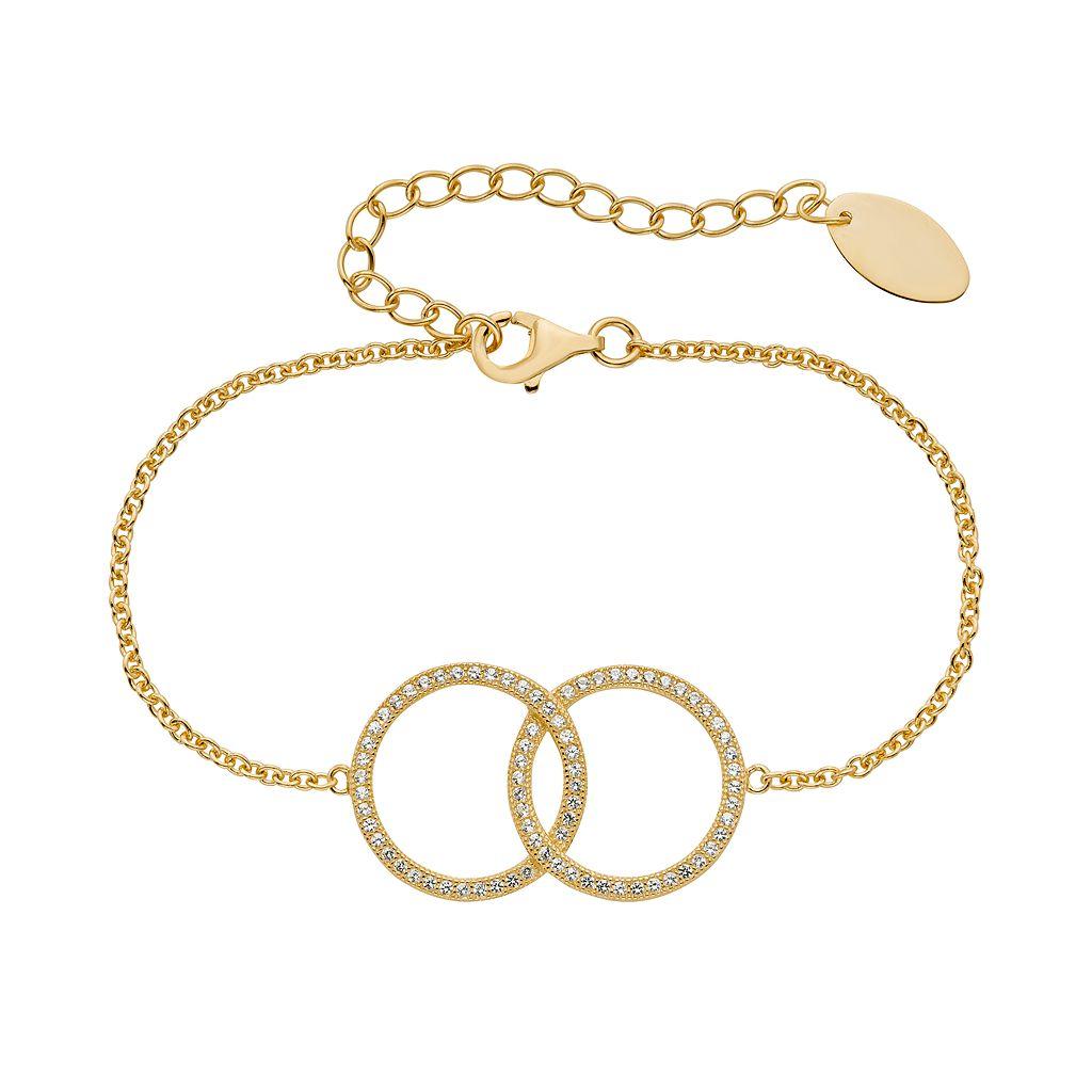 Lab-Created White Sapphire 14k Gold Over Silver Interlocking Circle Bracelet