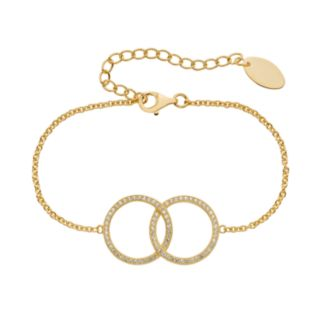Lab-Created White Sapphire 14k Gold Over Silver Interlocking Circle Bracelet