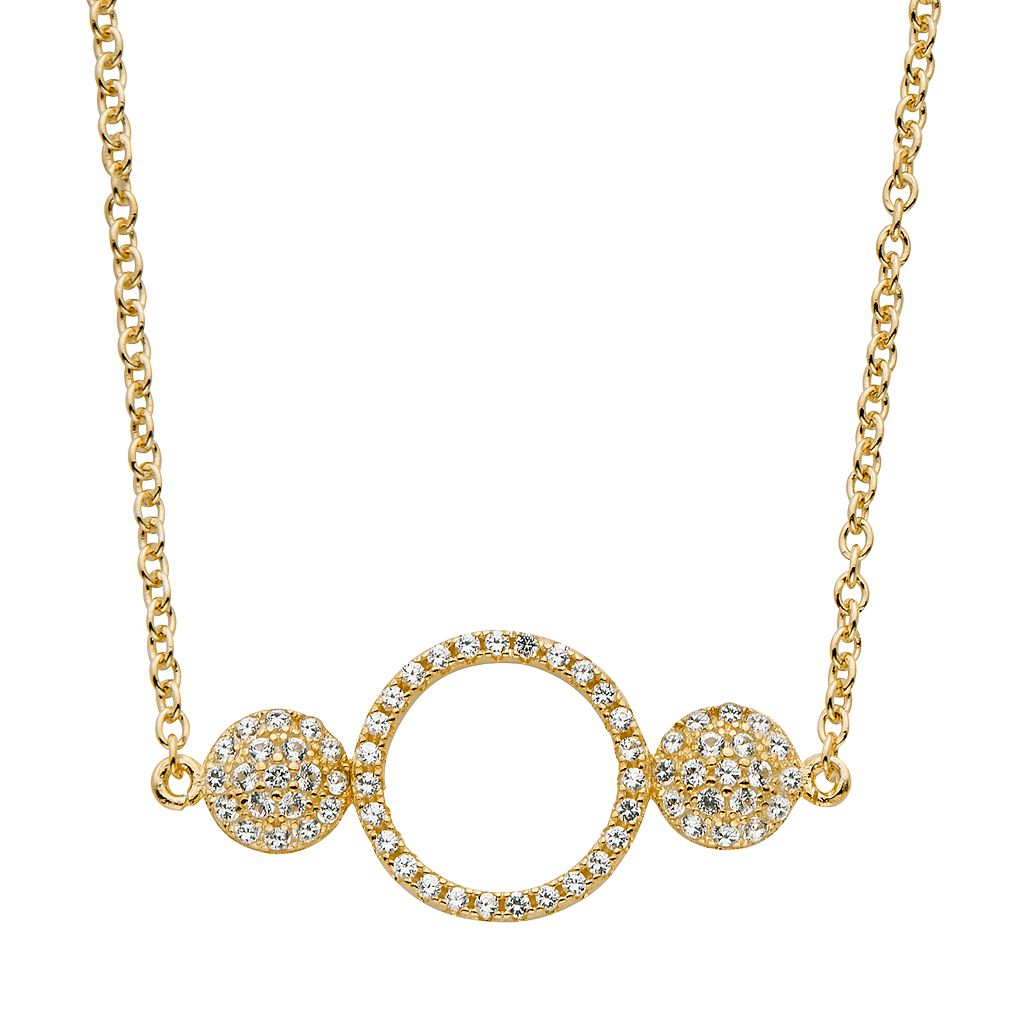 Lab-Created White Sapphire 14k Gold Over Silver Triple Circle Necklace