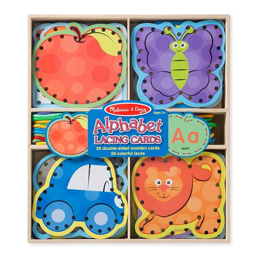 Melissa & Doug Wooden Alphabet Lacing Cards
