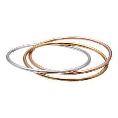 Tri-Tone Sterling Silver Interlocking Bangle Bracelet