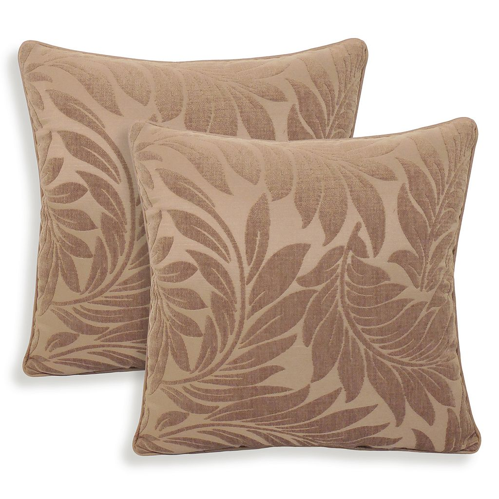 Alessandra 2-piece Chenille Leaves Jacquard Throw Pillow Set