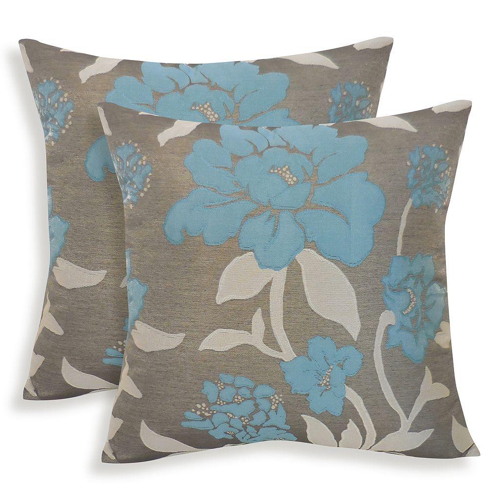 Rosemary 2-piece Silken Jacquard Floral Throw Pillow Set