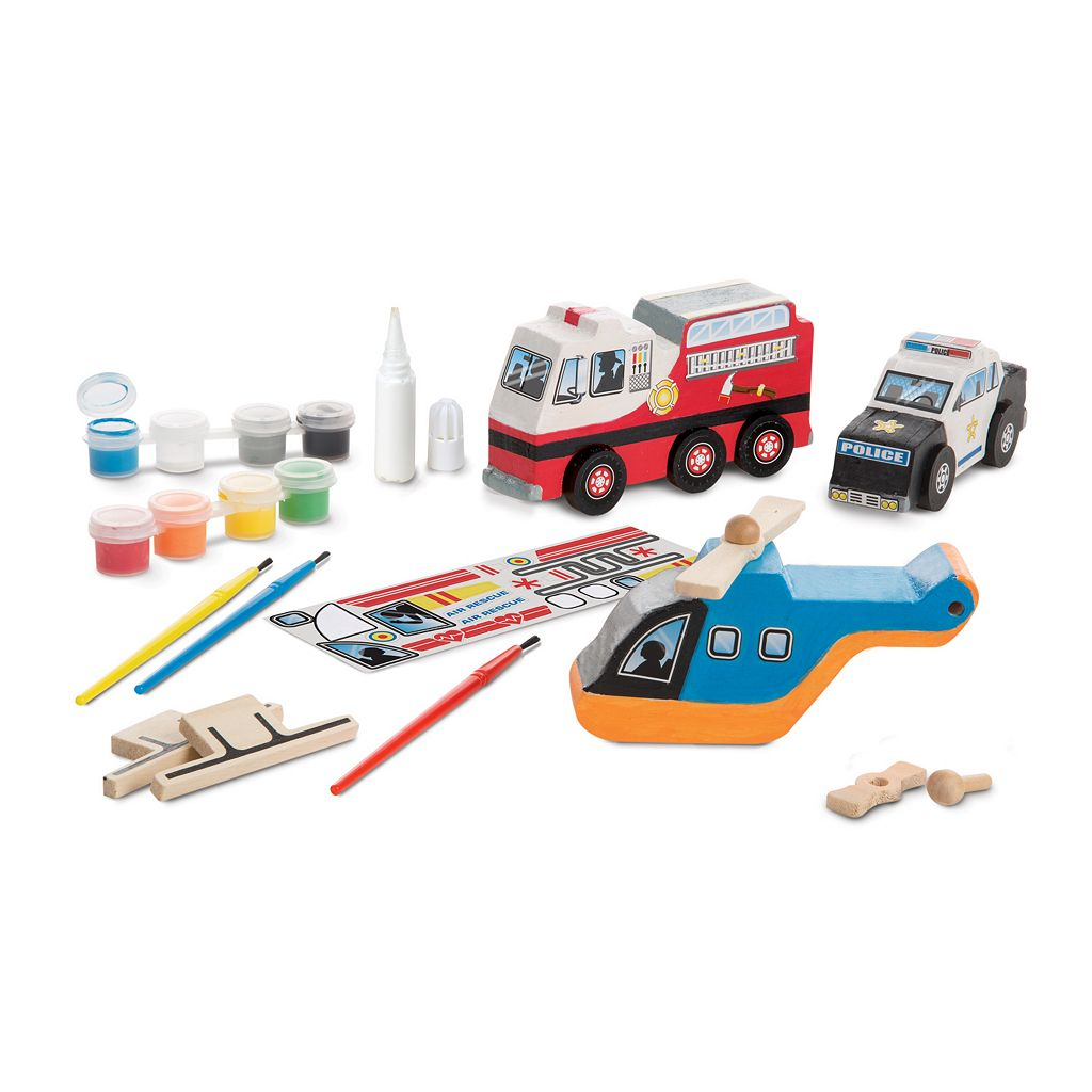 Melissa & Doug Decorate-Your-Own Wooden Rescue Vehicles Craft Set