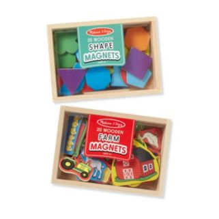 Melissa & Doug Shapes & Farm Wooden Magnets Set