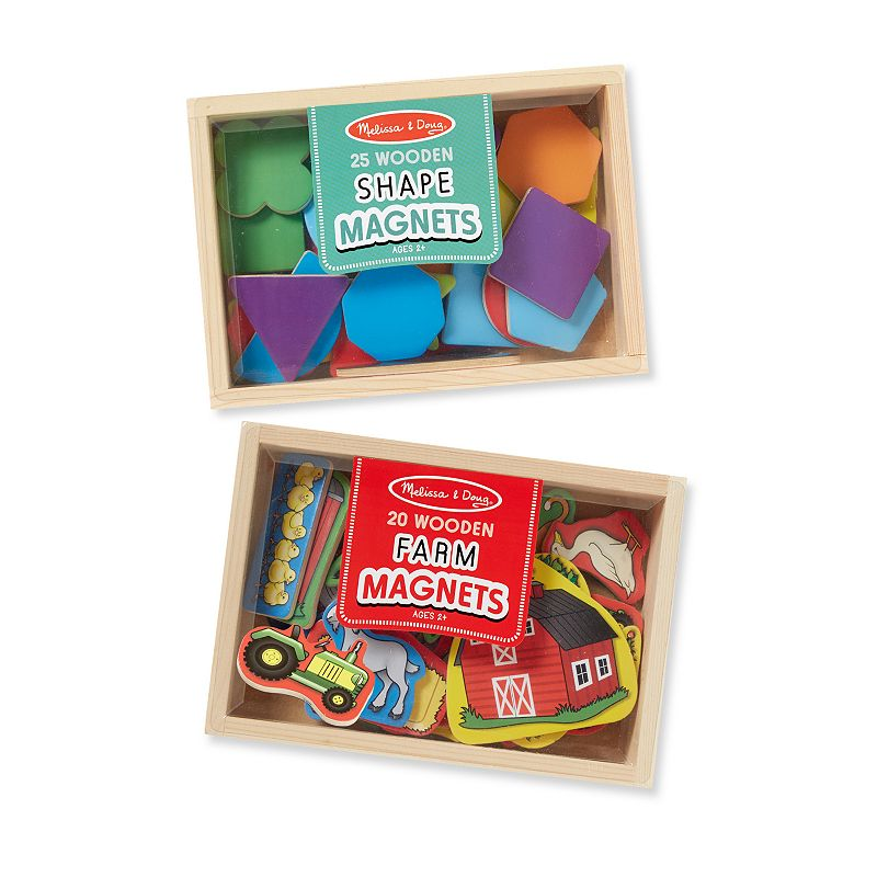 Melissa & Doug Shapes & Farm Wooden Magnets Set, Multicolor Easy to position and reposition on any magnetic surface, this Melissa & Doug wooden magnet set is a playful tool for hands-on exploration. Encourages sorting, matching, fine motor skills & hand-eye coordination Brightly colored wooden magnets Storage cases contain see-through, slide-shut lids What's Included 25 shape magnets 20 farm magnets 2 wooden storage boxes 3 H x 5.5 W x 7.9 D Ages 3 years & up Wipe clean Model no. 4518 Size: One Size. Color: Multicolor. Gender: Unisex. Age Group: Kids.