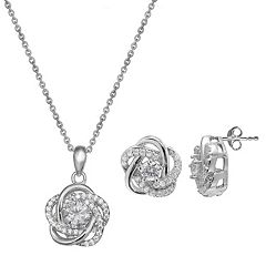 Cubic Zirconia Sterling Silver Flower Love Knot Pendant & Stud Earring Set