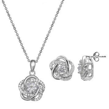 Cubic Zirconia Sterling Silver Flower Love Knot Pendant & Stud Earring Set