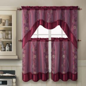 VCNY Daphne 3-piece Swag Tier Kitchen Window Curtain Set
