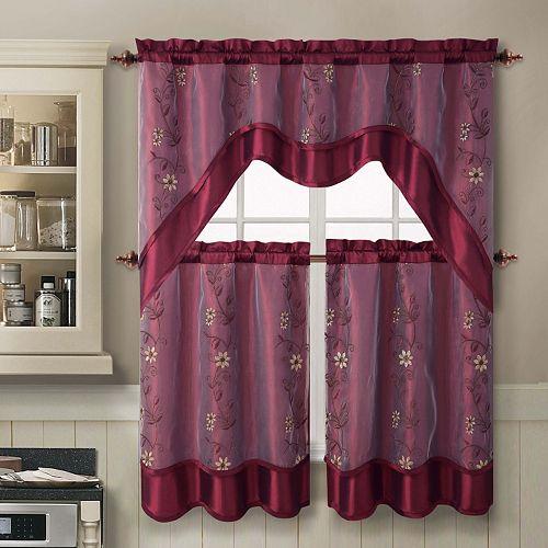 Kohl S Kitchen Curtains: VCNY Daphne 3-piece Swag Tier Kitchen Window Curtain Set