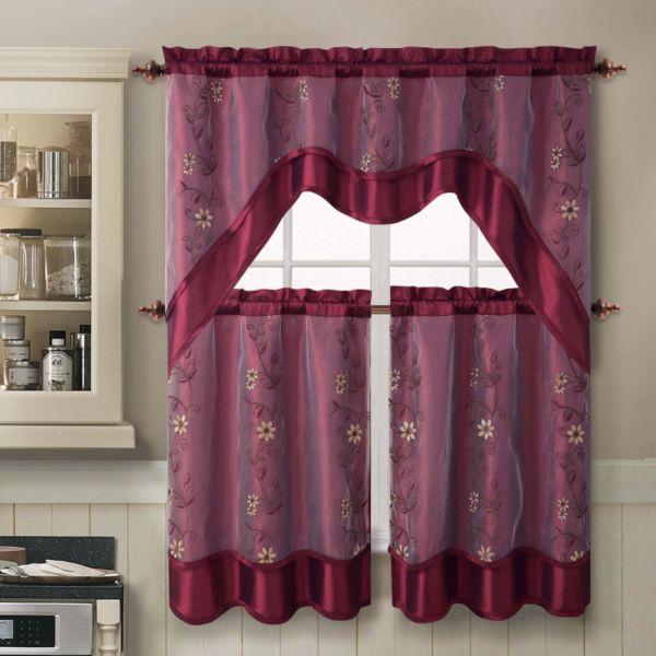 VCNY Daphne 3-pc. Swag Tier Kitchen Curtain Set
