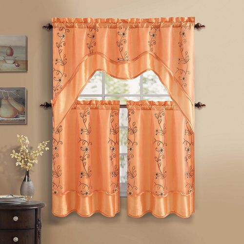 VCNY Daphne 3-piece Swag Tier Kitchen Window Curtain Set
