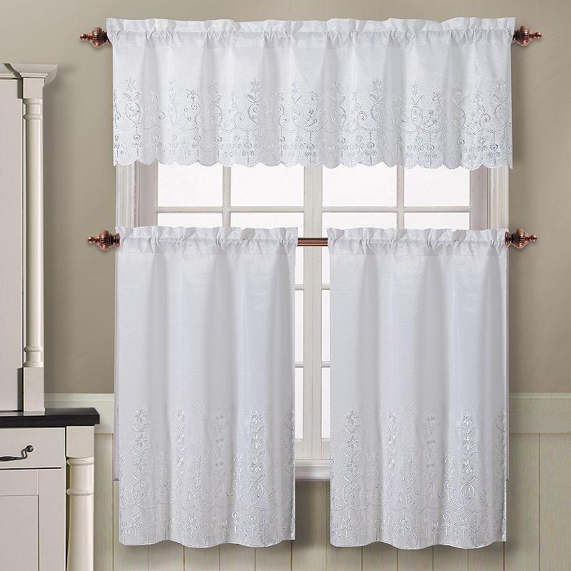 Victoria classics aileen 3 pc tier kitchen curtain set - Kohls kitchen curtains ...