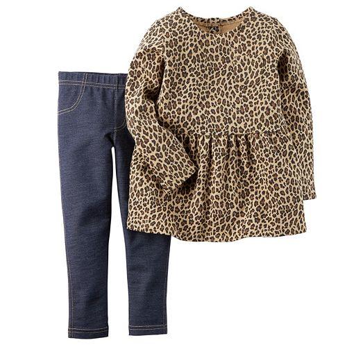 64653d18cf0 Baby Girl Carter s Cheetah Peplum Top   Jeggings Set