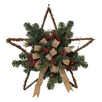 24'' Burlap Bow Twig Star Christmas Wall Decor