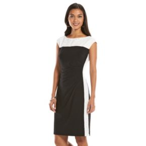 Chaps Colorblock Lace Sheath Dress - Women's