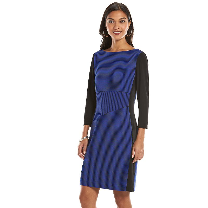 Chaps Textured Striped Sheath Dress - Women's