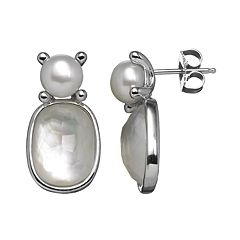 Freshwater by HONORA Freshwater Cultured Pearl & Mother-of-Pearl Sterling Silver Drop Earrings