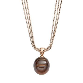 Freshwater by HONORA Dyed Freshwater Cultured Pearl 18k Rose Gold Over Silver & Sterling Silver Multistrand Pendant Necklace