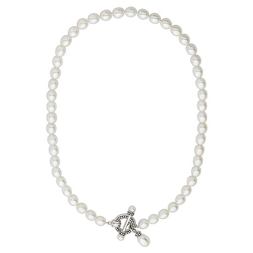 Freshwater by HONORA Freshwater Cultured Pearl Sterling Silver Toggle Necklace