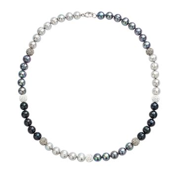 Freshwater by HONORA Dyed Freshwater Cultured Pearl & Crystal Sterling Silver Necklace