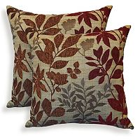 Bristol 2 pc Chenille Jacquard Leaf Throw Pillow Set