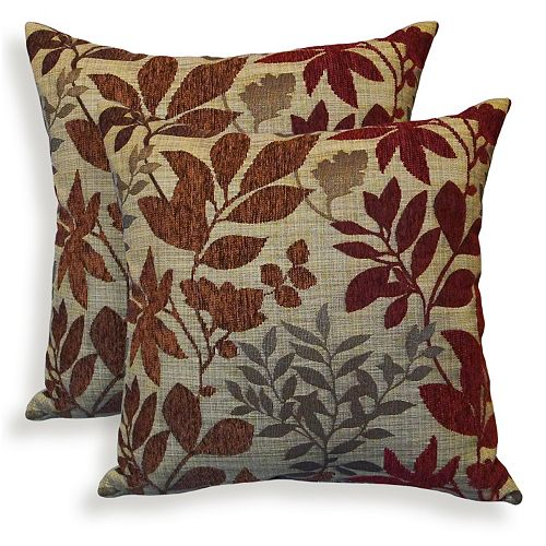 Bristol 2 Piece Chenille Jacquard Leaf Throw Pillow Set
