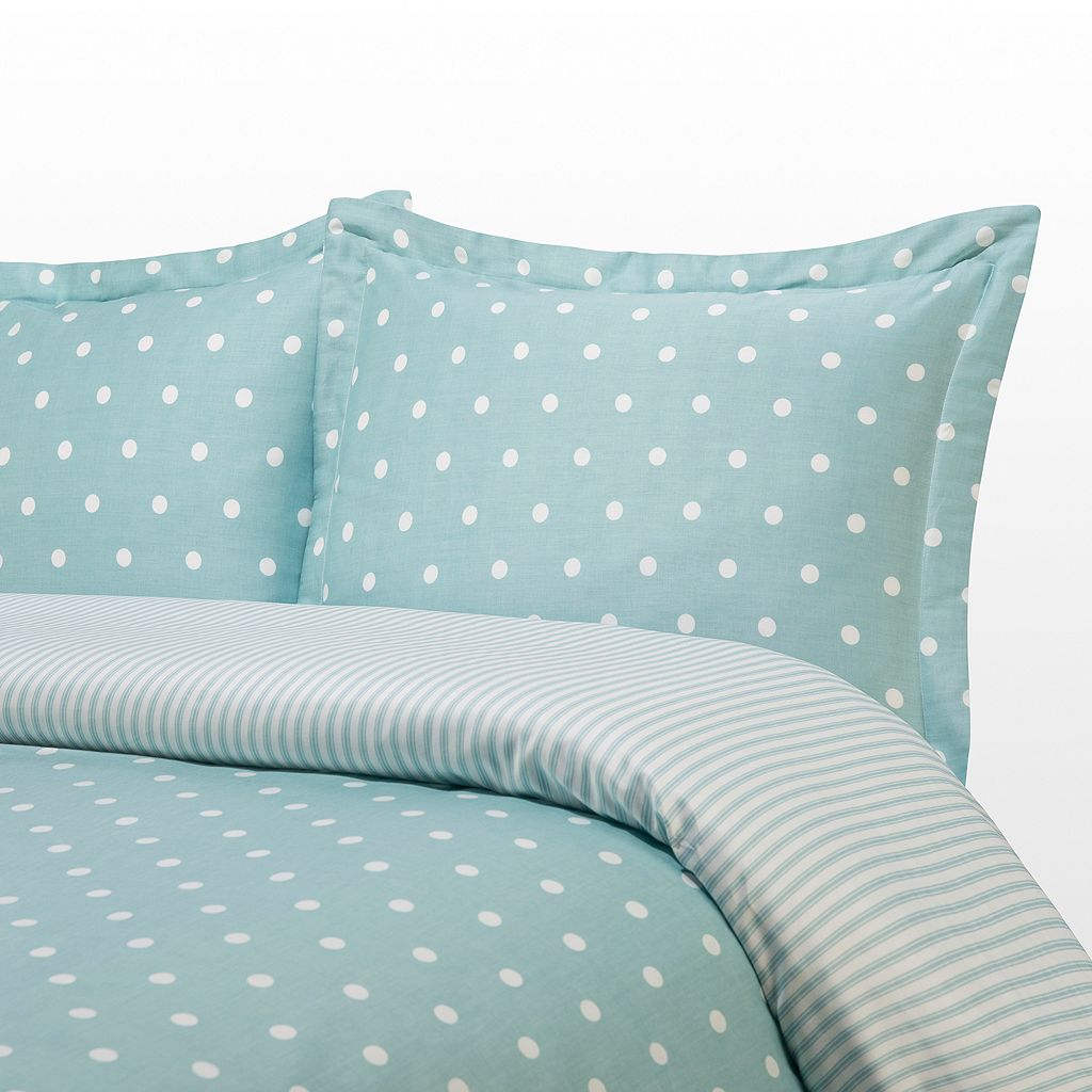 Grand Collection 300-Thread Count Sateen Dot Reversible Duvet Cover Set