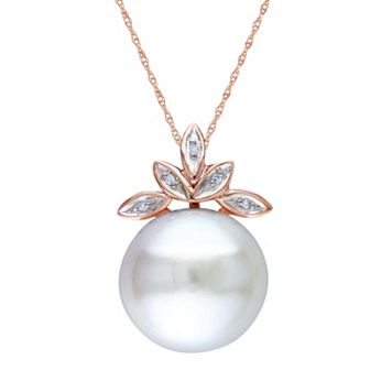 Freshwater Cultured Pearl & Diamond Accent 10k Rose Gold Leaf Pendant Necklace