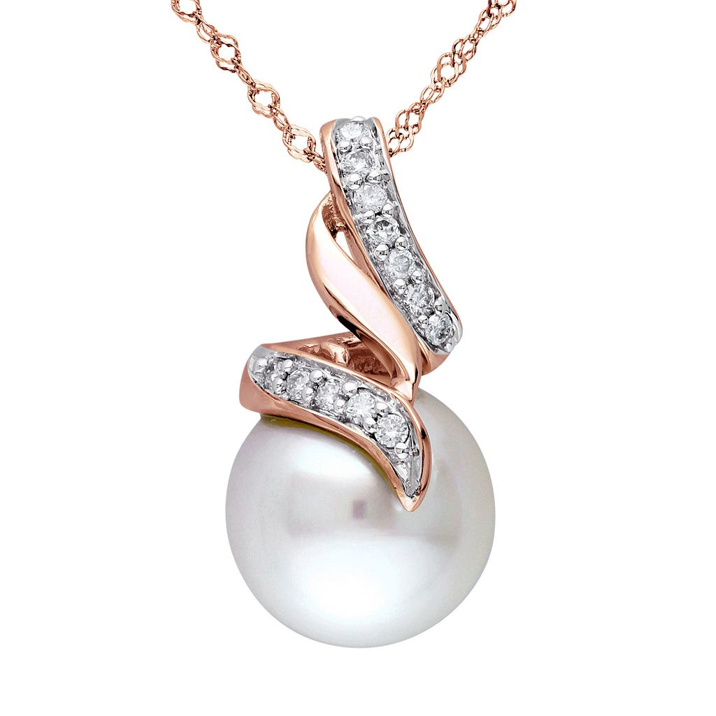 Freshwater Cultured Pearl & 1/10 Carat T.W. Diamond 10k Rose Gold Pendant Necklace