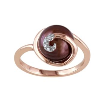 Freshwater Cultured Pearl & Diamond Accent Pink Rhodium-Plated Sterling Silver Swirl Ring