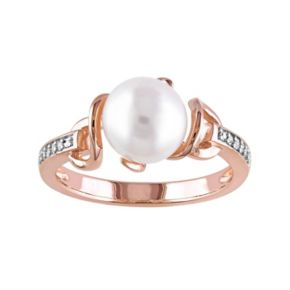 Stella Grace Freshwater Cultured Pearl & Diamond Accent Pink Rhodium-Plated Sterling Silver Ring