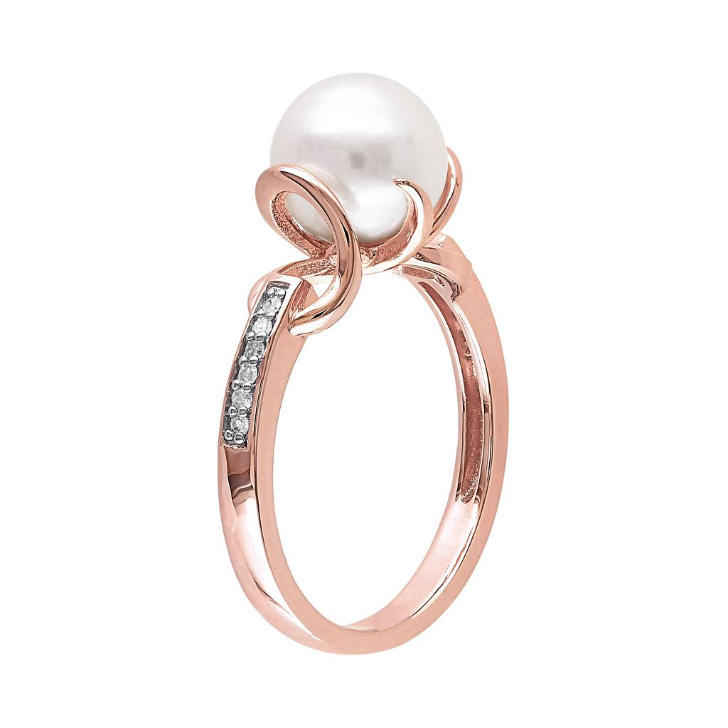 Freshwater Cultured Pearl & Diamond Accent Pink Rhodium-Plated Sterling Silver Ring