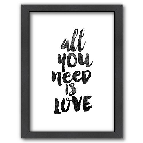 "Americanflat ""All You Need Is Love"" Framed Wall Art"