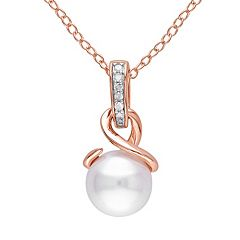 Freshwater Cultured Pearl & Diamond Accent Pink Rhodium-Plated Sterling Silver Pendant Necklace