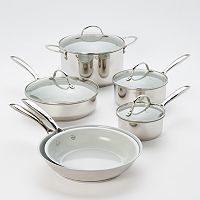Food Network™ 10-pc. Nonstick Stainless Steel Ceramic Cookware Set