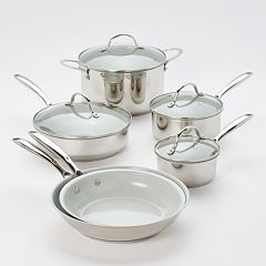 Food Network™ 10 pc Nonstick Stainless Steel Ceramic Cookware Set