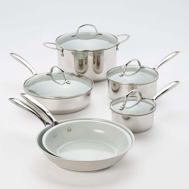 Food Network™ 10-pc. Nonstick Stainless Steel Ceramic Cookware Set, Silver