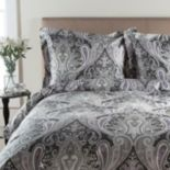 Grand Collection 300-Thread Count Sateen Crystal Paisley Duvet Cover Set