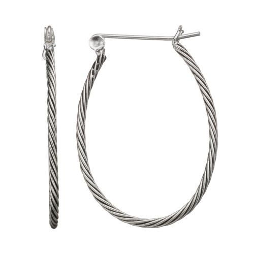 Sterling Silver Twist U-Hoop Earrings