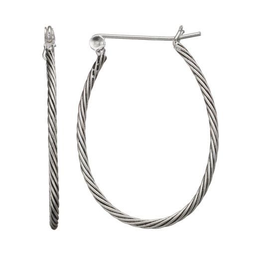Sterling Silver Twist U-Hoop Earrings
