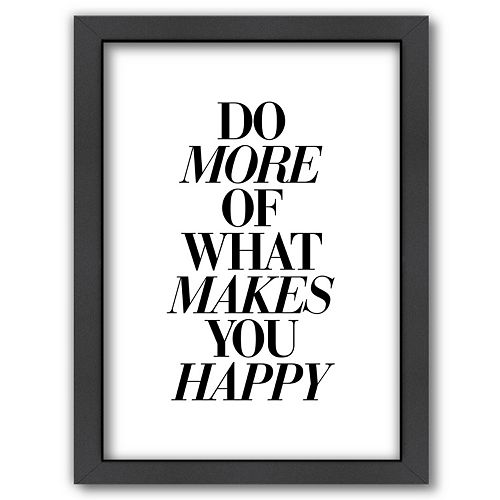 "Americanflat ""Do More Happy"" Italic Framed Wall Art"