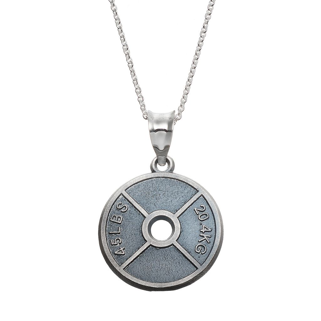 Insignia Collection Sterling Silver Weight Plate Pendant Necklace