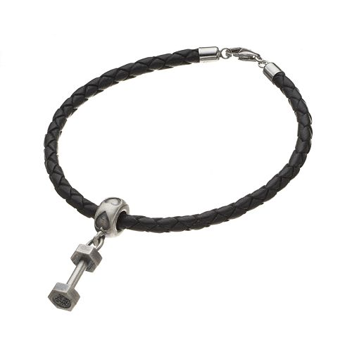 Insignia Collection Sterling Silver Dumbbell Charm Bracelet