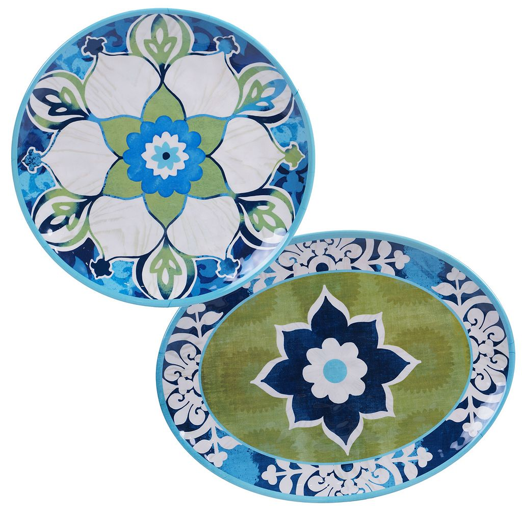 Certified International Barcelona by Jennifer Brinley 2-pc. Melamine Serving Platter Set