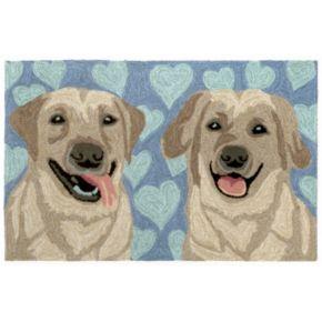 Liora Manne Frontporch Puppy Love Blue Indoor Outdoor Rug