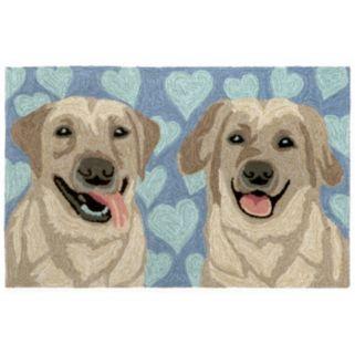 Trans Ocean Imports Liora Manne Frontporch Puppy Love Blue Indoor Outdoor Rug