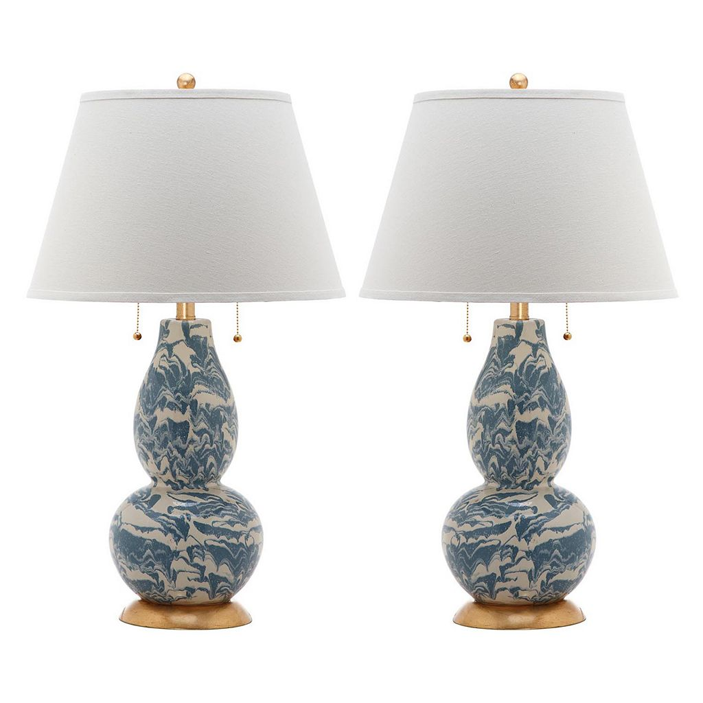 Safavieh 2-piece Color Swirls Glass Table Lamp Set